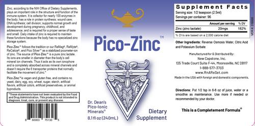 Pico-Zinc - Roztok zinku | Piko-ionový tekutý zinok Dr. Deanovej - 240ml